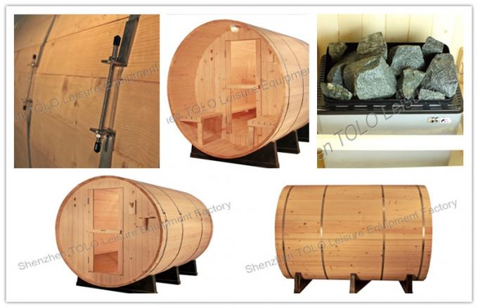 Europe Barrel Steam Sauna Cabins , Dry Heat Wood Sauna Room