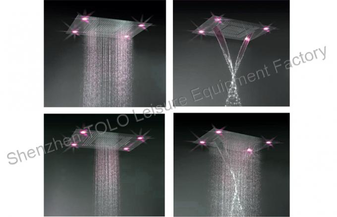Large Ceiling Rain Showers Heads , Colorful Led Light Rainfall Shower Head