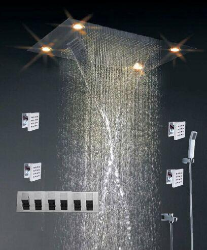 High - End Color Changing Ceiling Mounted Rain Shower Head With Body Jet , Square Shape