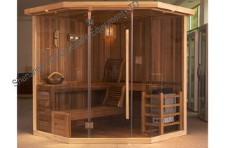China Polygon Cedar Traditional Sauna Indoor For 3 Person - 6 Person supplier