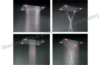 China Thin Stainless Steel Waterfall Shower Head , LED Light Ceiling Mounted Rain Shower Head supplier